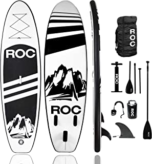 Roc 充气站立桨板 W 高级 SUP 配件和背包 {防滑甲板 } 赠送防水袋、皮带、桨和手泵!!! 青年和成人