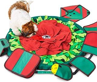 SNiFFiz SmellyMatty 狗狗拼图玩具 - 食品零食垫 - 大号鼻毛毛毯 + 5 个互动式脑部按摩器,用于锻造本能,室内浮雕压力释放 - 有趣喂食游戏