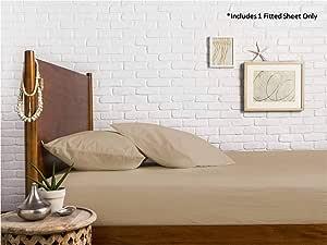 Mayfair Linen * 埃及长绒棉缎织物 800 支床笠四周有弹力 - 适合高达 18 的床垫 沙色 全部