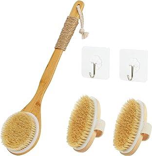 适用于干湿两用浴刷(3 件套,带 2 个墙钩),天然猪鬃毛浴刷,去角质,改善*,刺激*,消除*和毒素