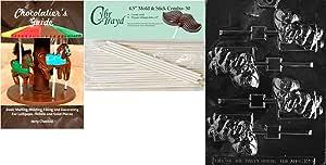 "Cybrtrayd ""熊与礼物 Lolly"" 圣诞巧克力糖果模具带 50 个 4.5 英寸棒棒棒糖和巧克力者指南"