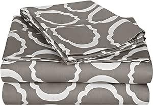 Impressions Cotton Blend 600 Thread Count, Deep Pocket, Soft, Wrinkle Resistant 4-Piece California King Bed Sheet Set, Scroll Park Grey