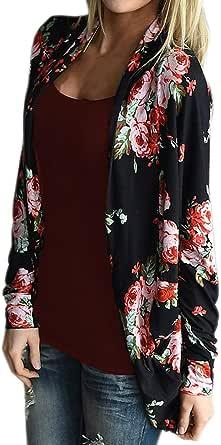 Artfish 女士长袖花卉开衫休闲和服外衣