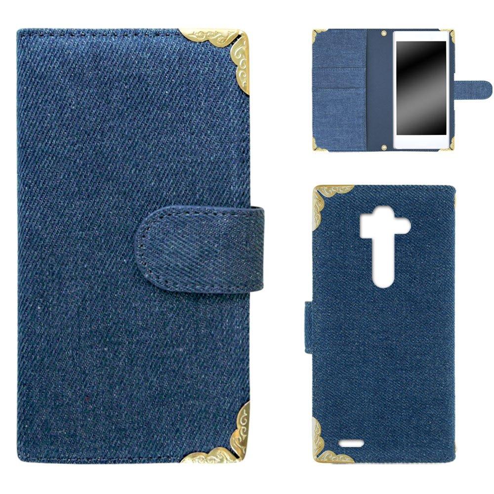 白色边框手机保护壳翻盖式角装饰牛仔 浅蓝色 21_ lg