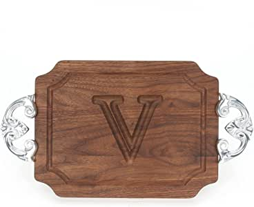 CHUBBCO Bar/Cheese Board with Classic Cast Aluminum Handle with Scalloped Corners, 9-Inch by 12-Inch by 0.75-Inch, Monogrammed, Walnut CHUBBCO Bar/Cheese Board with Classic Cast Aluminum Handle with Scalloped Corners, 9-Inch by 12-Inch by 0.75-Inch, Monogrammed, Walnut 核桃色 小号