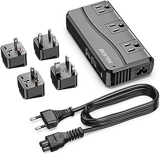 BESTEK 通用旅行适配器 100-220V 至 110V 电压转换器 250W 带 6A 4 端口 USB 充电 3 个 AC 插座和 EU/UK/AU/US/印度世界插头适配器