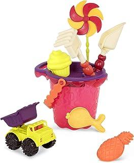 B.Toys Sands Ahoy -沙滩玩具套装 中号水桶套装(芒果色) 配有9种独特的沙子和水上玩具 - 不含邻苯二甲酸盐和BPA - 18个月以上