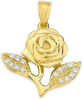 10k 纯金玫瑰吊坠套装镶嵌方晶锆石,花朵饰品,适合特殊场合和浪漫活动