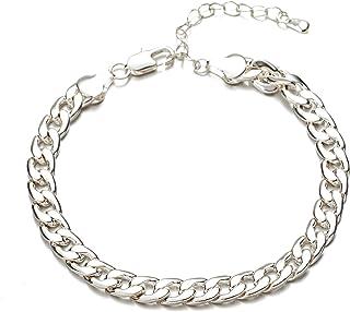 kelistom 18K 镀金/镀银古巴链女式脚链 7mm 宽锁链脚踝手链 2 英寸(约 5.1 厘米)延长链