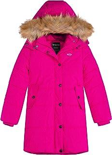 Wantdo 女孩冬季外套厚衬垫长款冬季夹克大衣带毛皮帽
