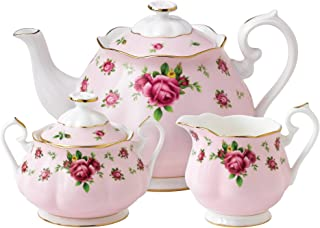 Royal Albert 8703025823 New Country Roses Pink Teaset, 3-Piece