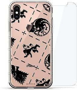 旗帜:Luxendary Air 系列 360 束:透明硅胶保护套,3D 打印设计和气囊缓冲缓冲垫 + 适用于 iPhone Xs Max 的钢化玻璃LUX-IXPLAIR360-GOT1 FANDOM: Thrones Symbols 透明