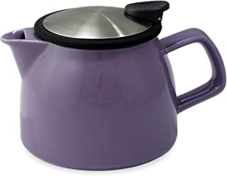 FORLIFE Bell Ceramic Teapot with Basket Infuser, 16-Ounce/470ml, Purple