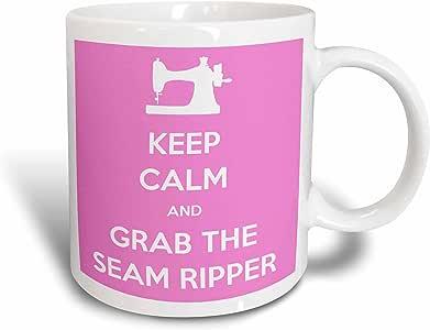 3dRose mug_172002_2 Keep Calm and Grab The Seam Ripper, Pink and White Ceramic Mug, 15-Ounce