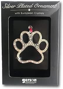 "Gerson 镀银水晶圣诞假日宠物照片装饰品 ~ 7.62 厘米 Paw Print Silver 3"""