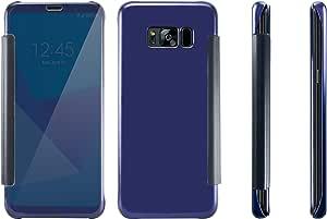 奢华超薄镜面翻盖透明视图智能保护套适用于三星 Galaxy S8 SM-G950WMC 深蓝色