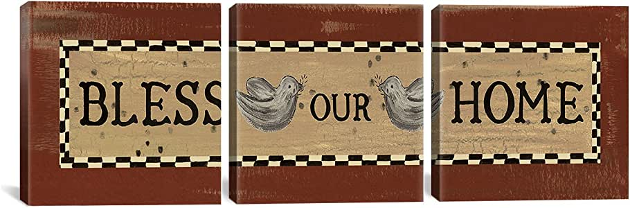iCanvasART 13270 Bless Our Home 3-Piece Canvas Print by Erin Clark, 48 by 16-Inch, 0.75-Inch Deep
