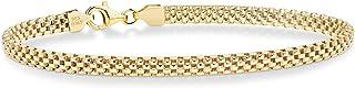 MiaBella 18K 金纯银意大利 4mm 网状链式女士女孩手镯 17.78cm-20.32cm