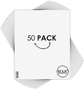 金州艺术,10 件装,30.48 x 40.64 厘米切割地垫适合 20.32 x 30.48 厘米 - 白色垫子 - 斜角切割,无酸,4 层厚白色芯 - 非常适合图片、照片、画框、艺术品、印画 白色 Pack of 50 K2-16146-GSA6