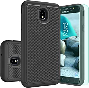 Galaxy J7 2018手机壳,Galaxy J7 Aero/J7 Top/J7 Aura/J7 Crown/J7 Refine/J7 Eon 手机壳带高清屏幕保护膜防尘耐用护甲和弹性减震保护套适用于三星 J7 Star 黑色