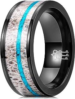 THREE KEYS JEWELRY 8 毫米男士订婚黑色鹿角蓝*镶嵌级钛抛光酷承诺发光时尚婚戒男士拇指戒指 尺寸 10N