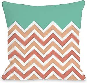 OBC 的 Bentin 家居装饰 V 形纯色户外抱枕 Chevron Solid - Melon Cantaloupe 18x18 Pillow 12332PL18