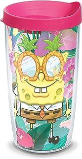 Tervis 1333913 Nickelodeon - SpongeBob SquarePants 热带隔热玻璃杯带缠绕和紫红色盖,16 盎司 - 三件套,透明 透明 16 oz - Tritan 1333913