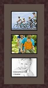 Art to Frames 双-多衬垫-873-119/89-FRBW26061 拼贴框架照片垫双衬垫带 3-6x8 开口和Espresso 框架