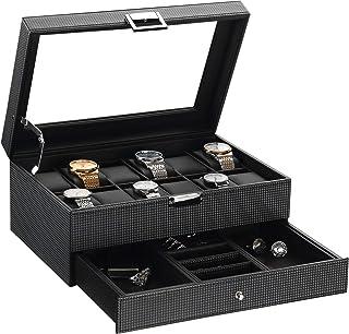 BEWISHOME 手表盒收纳盒 12 个男式珠宝展示抽屉带可调节托盘玻璃顶 PU 皮 SSH02BZ 碳纤维