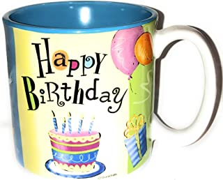 陶瓷生日快乐蛋糕和蜡烛马克杯