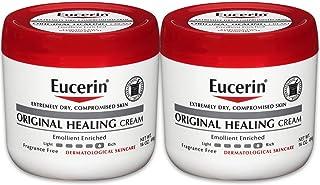 Eucerin Original Healing 面霜-无香料,丰富的乳液,适合非常干燥的皮肤-16盎司(约453.59克),罐装(2瓶装)