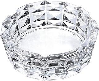 Saim 水晶玻璃雪茄烟灰缸户外室内圆形灰色支架盒矩形网格装饰大号适用于家庭露台办公室桌面,4.6 x 1.7英寸