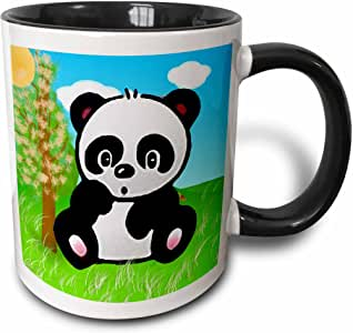 3drose 儿童 Stuff animals–熊猫 Bear–马克杯 黑色/白色 11-oz Two-Tone Black Mug