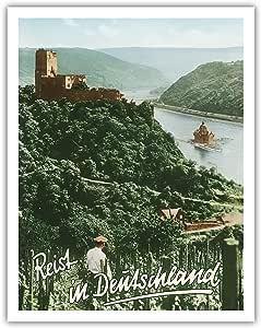 """太平洋岛屿艺术旅行在德国(德意志地)- Fürstenberg Castle Ruins - Rhine River - F. Kratz 创作的复古世界旅游海报 - 精美艺术印刷品 11"""" x 14"""" APB3738"""