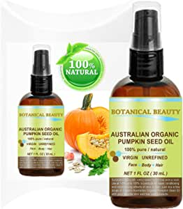 """ORGANIC PUMPKIN SEED OIL Australian. 100% Pure / Natural / Undiluted /Unrefined Cold Pressed Carrier oil. 1 Fl.oz.- 30 ml. For Skin, Hair, Lip and Nail Care. """"One of the richest sources of enzymes, fatty acids, iron, zinc, vitamins A, C, E and K""""."""