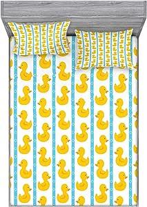 Ambesonne 多色床笠和枕套套装 黄色 蓝色 全部 bswpil_23366_full