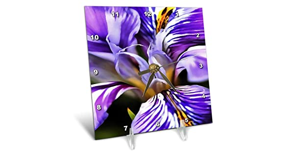 Desk Clock 6 by 6-inch dc/_245544/_1 3dRose 3D Rose Iris