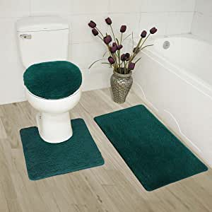 浴室防滑浴室地毯 3 件套防滑浴室垫、轮廓垫和马桶盖纯色全新 暗*(Hunter)