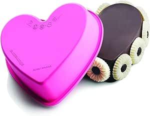 """SiliconeZone 5.5"""" Non-Stick Silicone Mini Heart Baking Pan, Dark Pink"""