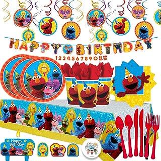 Sesame Street MEGA 生日派对套装,16 个饰品,餐巾纸、杯子、桌布、蜡烛、餐具、漩涡和生日横幅!