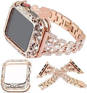 KoudHug 闪亮表带和表壳兼容 Apple Watch 38 毫米 40 毫米 42 毫米 44 毫米 iWatch 系列 5 4 3 2 1,珠宝水钻手链替换表带适合女士女孩(玫瑰金,38/40)