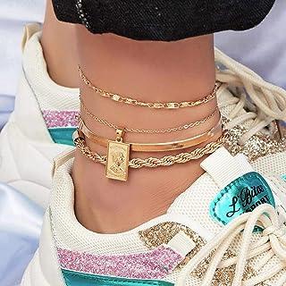 标签脚链套装适合青少年 8 件手链分层脚链 14 K 镀金夏季脚链 女士男士男孩女孩脚饰品