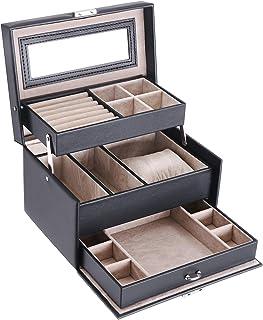 BEWISHOME 珠宝盒带锁 3 层珠宝展示储物盒耳环项链收纳盒便携式旅行盒 适合女士女孩 - 黑色仿皮 SSH77B