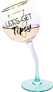Pavilion Gift Company 12251 Let's Get 11 盎司紫色渐变色和金色独特Tipsy Stetemmed 酒杯