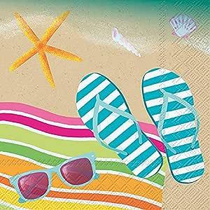 庆祝家居热带 3 层纸鸡尾*餐巾纸 Flip Flop Sand 20份 C012200