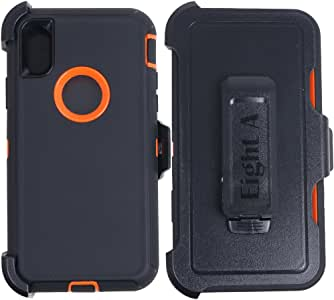 Apple iPhone X Case,Heavy Duty Defender Impact Rugged Protective Case for iPhone X Plus 黑色/橘色