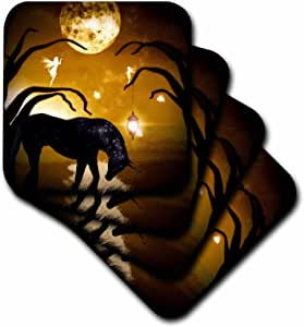3dRose cst_49004_2 Black Unicorn in Front of Full Moon with Fairies Soft Coasters, Set of 8