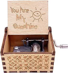 Jashem You are My Sunshine 木质音乐盒激光雕刻复古木质阳光音乐盒生日、圣诞节、情人节礼物 经典 小号
