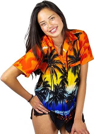 V.H.O. 时髦夏威夷女衬衫女式短袖前口袋沙滩棕榈色