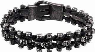 骷髅手链 - BLACKSTATIC 系列 - 高级男士复古朋克不锈钢骑行者骷髅手链。